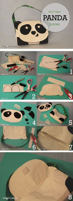 How can you resist this cute panda purse? What a great addition to our duct tape purse collection. You request it and we'll keep making them! Have fun making this adorable panda or think of a creative new face (or color!) that you can make for your new panda friend.
