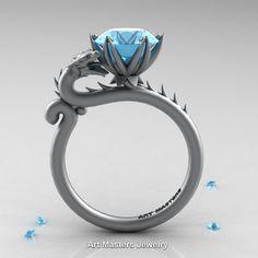 Art Masters 14K Grey Gold 3.0 Ct Aquamarine Dragon Engagement Ring R801-14KGRGAQ…