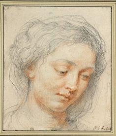 """Peter Paul Rubens, Kopf einer Frau mit gesenktem Blick (Studie für die Madonna des """"Ildefonso-Altars""""), um 1630/31 © Albertina"""
