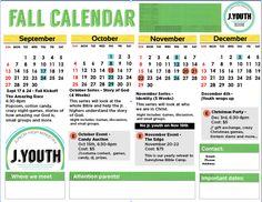 Fall youth group calendar resources for youth ministry for Youth group calendar template