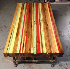 Dining table tops wood pallet top home depot ideas for wooden furniture. Reclaimed Furniture, Pipe Furniture, Pallet Furniture, Furniture Projects, Wood Projects, Painted Furniture, Woodworking Projects, Refinished Furniture, Industrial Furniture