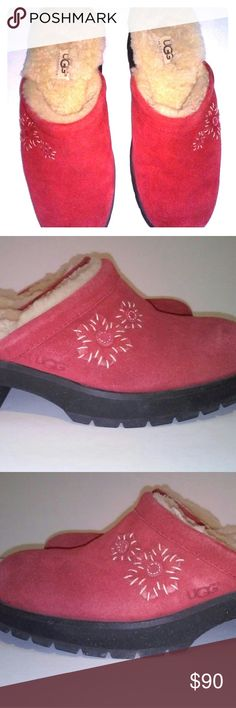 """Ugg Brand-Wmn.'s Leather, Sheepskin Lined Mule's Ugg brand Wmn.'s sz. 8 M., Raspberry Pink color, cute flower embroidery on the outsides. All Suede Leather, Genuine Sheepskin lined, 2"""" heel Rubber sole. Never Worn ( See All photos for details, rubber soles & heels, etc.). These Raspberry Pink Mule's are very comfortable, cute & stylish, so warm to wear out in winter, yoga class, or maybe just at home to slip into after a long work day on your feet. All Offers considered. *This Seller not…"""