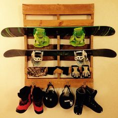 Snowboard & Equipment Shelf/Hanger by UnderTheSandpaper on Etsy