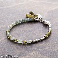 Moss aquamarine bracelet 2, grossular green garnet, Karen Hill Tribe silver, skinny, stackable bracelet, asymmetrical beaded bracelet by NanandBiz