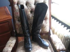 gorgeous Black leather equestrian boots still available! #bohemianblissdesigns #vintage #blackboots