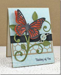Winged Beauties; Fancy Butterflies Die-namics; Large Leaf-Filled Flourish Die-namics; Mini Chicken Wire Die-namics - Barbara Anders
