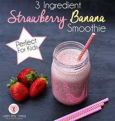Delicious 3 Ingredient Strawberry Banana Smoothie - A Kid Favorite!