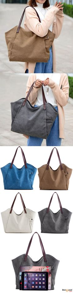 ec71eeae2b9 Women Durable Thicker Canvas Handbag Light Casual Large Capacity Shoulder