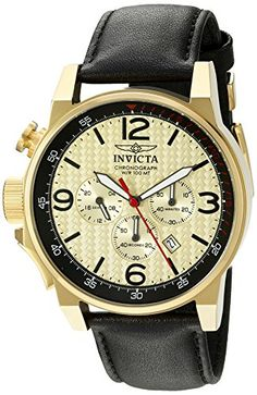 Men's Wrist Watches - Invicta Mens IForce Quartz Stainless Steel and Black Leather Casual Watch Model 20137 -- Want to know more, click on the image.