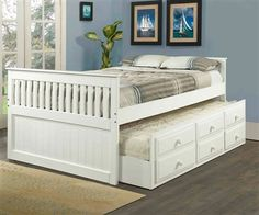 White full size trundle captains bed Kids Bedroom Furniture captain's beds and captain bed with storage and trundle bed