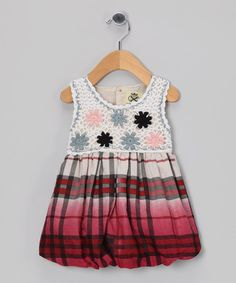 Red Plaid Crochet Bubble Dress - Infant & Toddler by Tutu AND Lulu | £12.99