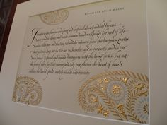 'Seed' by Kathleen Raine. Calligraphy and illumination by Georgia Angelopoulos