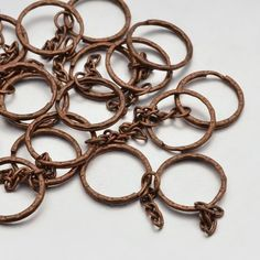 20pcs Red Copper Iron Split Ring Key Clasp Findings Round Keyring Chain Crafts