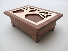 Tree of Life Keepsake Box in Black Walnut Wood with Maple Inlay Hinged Lid