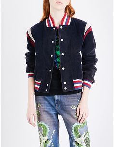 Gucci Embroidered cotton-corduroy jacket.