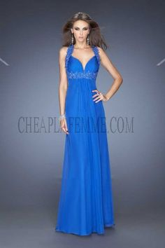 Electric Blue Chiffon Floor Length La Femme 20134 Open Back Prom Dress Cheap