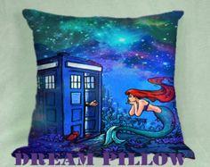 Doctor Who Meets Disney Tardis and Ariel Little Mermaid Galaxy Nebula Pillow Custom Standard Pillowcase.