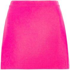Versace Neon wool-crepe mini skirt ($570) ❤ liked on Polyvore featuring skirts, mini skirts, saias, versace, pink, short a line skirt, wool mini skirt, neon skirt, short pink skirt and short wool skirt