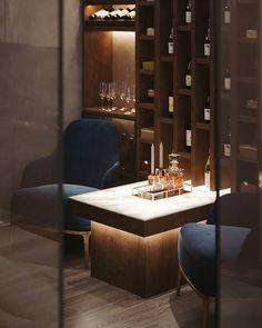 Wine-cigar room on Behance Lounge Bar, Lounge Design, Cigar Lounge Decor, Cigar Lounge Man Cave, Design Design, Modern Home Bar Designs, Home Bar Rooms, Wine Cellar Design, Wine Bar Design