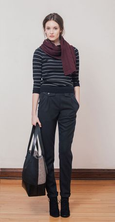 NICOLE Black/Ivory stripes: Classic ¾ sleeves striped sweater with boat neck. Bamboo knit in Montreal. JENN Charcoal: High-waisted wool pants with side pockets and decorative front flaps. HELMA Burgundy: Scarf in Italian merino wool knit in Montreal. Betina Lou Fall-Winter 2014-15.