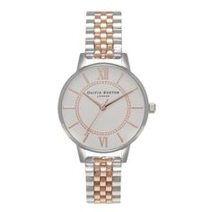 Women's 'Wonderland Mix' bracelet watch from Olivia Burton.  With a rounded, stainless steel case and sandblasted silver face, the classic timepiece features c…