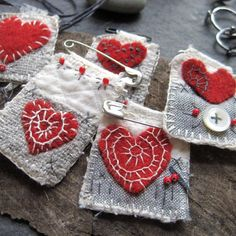 everyday love 11 by mairedodd on Etsy Textile Jewelry, Fabric Jewelry, Sewing Crafts, Sewing Projects, Fabric Brooch, African Trade Beads, Felt Hearts, Vintage Textiles, Fabric Art