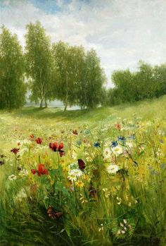 'Lush Green Summer Meadow' - by artist Anna Billing (Swedish; Landscape Art, Landscape Paintings, Illustration Art, Illustrations, Fine Art, Beautiful Paintings, Paintings Famous, Famous Artists, Art Paintings