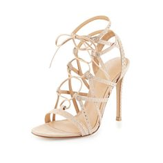 Crystal-Embellished Suede Lace-Up Sandal by Gianvito Rossi. Love! Love! Love!