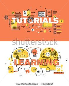 Set of modern vector illustration concepts of words tutorials and learning. Thin…