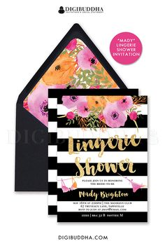 Black & White stripe Lingerie Shower invitation with beautiful bold watercolor flowers in fuchsia hot pink, orange and blush pink.  Gold glitter brush script and bra and panties details.  Boho chic floral envelope liner and pointed flap black envelopes also available, at digibuddha.com