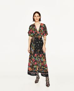 ZARA - WOMAN - PRINTED SARONG MIDI DRESS