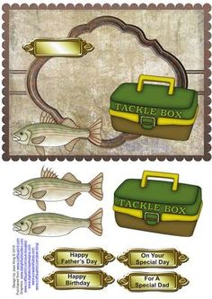 Fishing Male Topper on Craftsuprint designed by Joan King - This is a male topper card with fishing items on it and some easy decoupage. It is certainly a quick card to make. I have given you a greeting label for Father's Day and also for birthday and a blank one for your own message. - Now available for download!