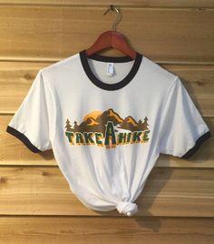 35ee7b2f787a FreeBird Cloth - Take a Hike 70s Retro Ringer Tee 70s Inspired Fashion
