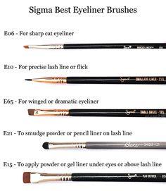 Brushes for Different Eyeliner and Style from Sigma Beauty. Dramatic Eyeliner, Smudged Eyeliner, Eyeliner Looks, Eyeliner Brush, Eyeshadow Brushes, Best Gel Eyeliner, Red Eyeshadow, Mascara, Make Makeup