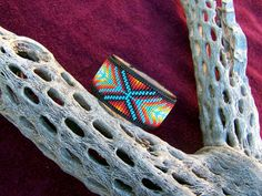Native American Beaded Chevron Leather Bracelet With von LJGreywolf, $30.00