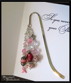 breast cancer awareness bead kits | Breast Cancer Awareness Beaded Bookmark STERLING SILVER CHARM Pink ...