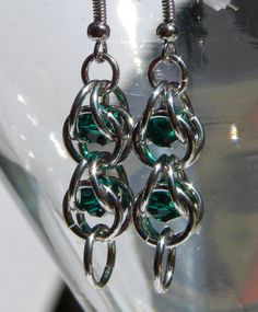 Emerald Captured Bead Chainmaille Earrings (Was 11.00 now 9.00)
