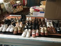 Just some of the wee shoes I am selling . Shoe Rack, Me Too Shoes, Antiques, Antiquities, Antique, Shoe Cupboard