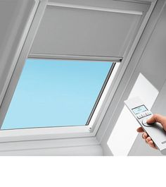 Velux offers a collection of blinds designed specifically for skylights. The range includes 85 colors and patterns, including blackout shades and designs by Karim Rashid Skylight Covering, Skylight Shade, Skylight Blinds, Skylight Design, Skylight Window, Skylights, Skylight Bedroom, Blinds Design, Reno
