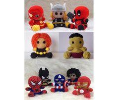 Amigurumi Batman Spiderman Flash Capitán América por Amigurumeria