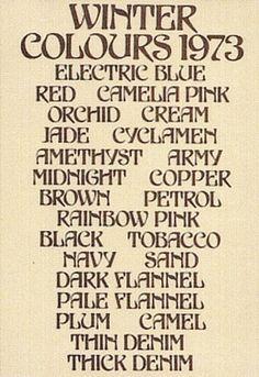 Biba Winter Colours, 1973.