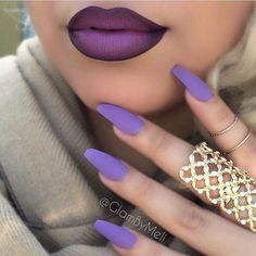 What's better than lavender nails? Matching ombre lips Who else feels OMG aHH-mazing when their nails and lips go together like two peas in a pod? Purple Lipstick Makeup, Eye Makeup, Beauty Makeup, Coffin Nails, Acrylic Nails, Matte Nails, Manicure, Lavender Nails, Nails Polish