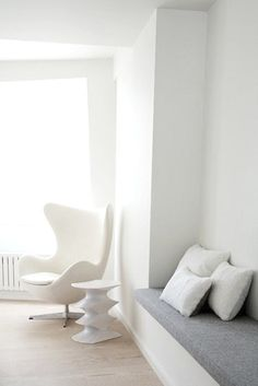 :: INTERIORS :: covet the classic egg chair, love the white ... lovely! Photo Credit: Unknown