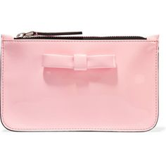 Marni Patent-leather pouch ($100) ❤ liked on Polyvore featuring bags, handbags, clutches, baby pink, pink patent leather purse, patent handbags, pink clutches, bow purse and pouch purse