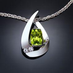 peridot necklace, peridot pendant, August birthstone, green, white sapphires, Argentium silver pendant, fine jewelry, artisan jewelry - 3378