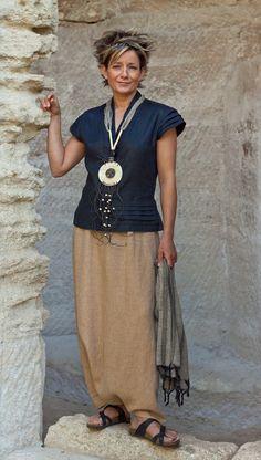 black linen blouse and harem pants