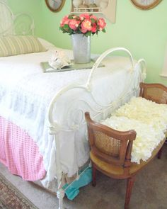 Shabby French Cottage: A Breath of Fresh Air. . . Love this bed - exactly what I want!