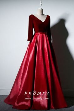 V-neck Burgundy Long Satin Prom Dresses with Long Sleeeves - Simi Bridal Red Wedding Dresses, A Line Prom Dresses, Ball Dresses, Burgundy Evening Dress, Red Evening Gowns, Formal Dresses With Sleeves, Gowns With Sleeves, Vestidos Azul Serenity, Gray Cocktail Dress
