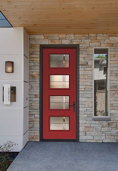 Looking for Modern Curb Appeal? Check out Therma-Tru. Shown: Axis Decorative Glass for Fiber-Classic, Smooth-Star, Profiles, Traditions & Pulse Doors. Visit http://www.dilloncompany.com/.