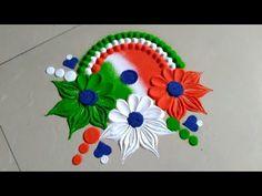 Independence day & Republic day rangoli design by Jyoti Raut rangoli Simple Rangoli Designs Images, Rangoli Designs Flower, Rangoli Border Designs, Rangoli Designs With Dots, Rangoli Designs Diwali, Flower Rangoli, Beautiful Rangoli Designs, Kolam Designs, Rangoli Photos
